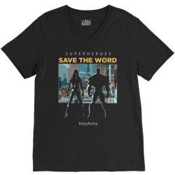 stay home save world V-Neck Tee | Artistshot