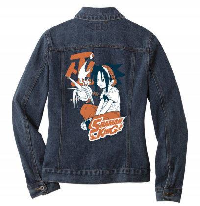 Shaman King Kanji Ladies Denim Jacket Designed By Paísdelasmáquinas