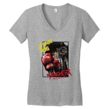 Megalobox Women's V-neck T-shirt Designed By Paísdelasmáquinas