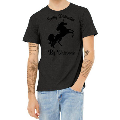 Easily Distracted By Unicorns Heather T-shirt Designed By Banjarstore