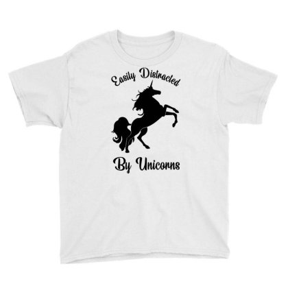 Easily Distracted By Unicorns Youth Tee Designed By Banjarstore