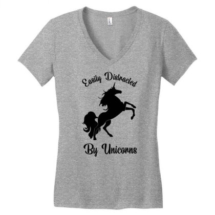 Easily Distracted By Unicorns Women's V-neck T-shirt Designed By Banjarstore