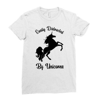 Easily Distracted By Unicorns Ladies Fitted T-shirt Designed By Banjarstore