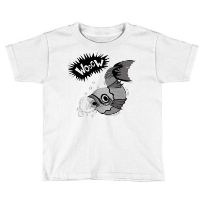 Cartoon Wooow Fish Toddler T-shirt Designed By Mysticalbrain