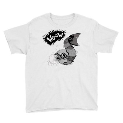 Cartoon Wooow Fish Youth Tee Designed By Mysticalbrain