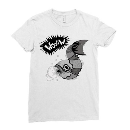 Cartoon Wooow Fish Ladies Fitted T-shirt Designed By Mysticalbrain