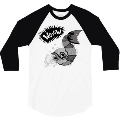 Cartoon Wooow Fish 3/4 Sleeve Shirt Designed By Mysticalbrain