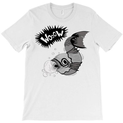 Cartoon Wooow Fish T-shirt Designed By Mysticalbrain