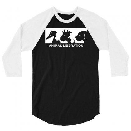 Animal Liberation 3/4 Sleeve Shirt Designed By Mdk Art