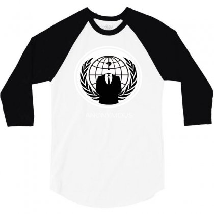 Anonymous Group Occupy Hacktivist Pipa Sopa Acta   V For Vendetta 3/4 Sleeve Shirt Designed By Mdk Art