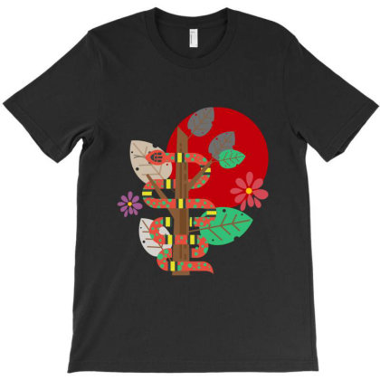 Snake And Flowers T-shirt Designed By Red Story
