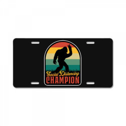 social distancing champion License Plate | Artistshot