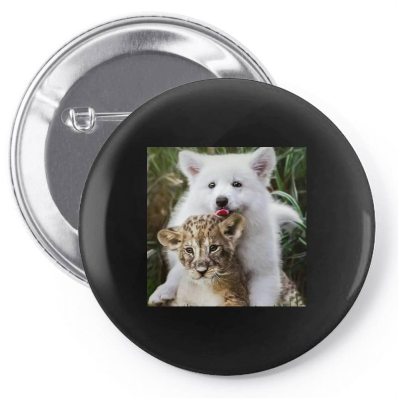 Dog And Lion Pin-back Button | Artistshot