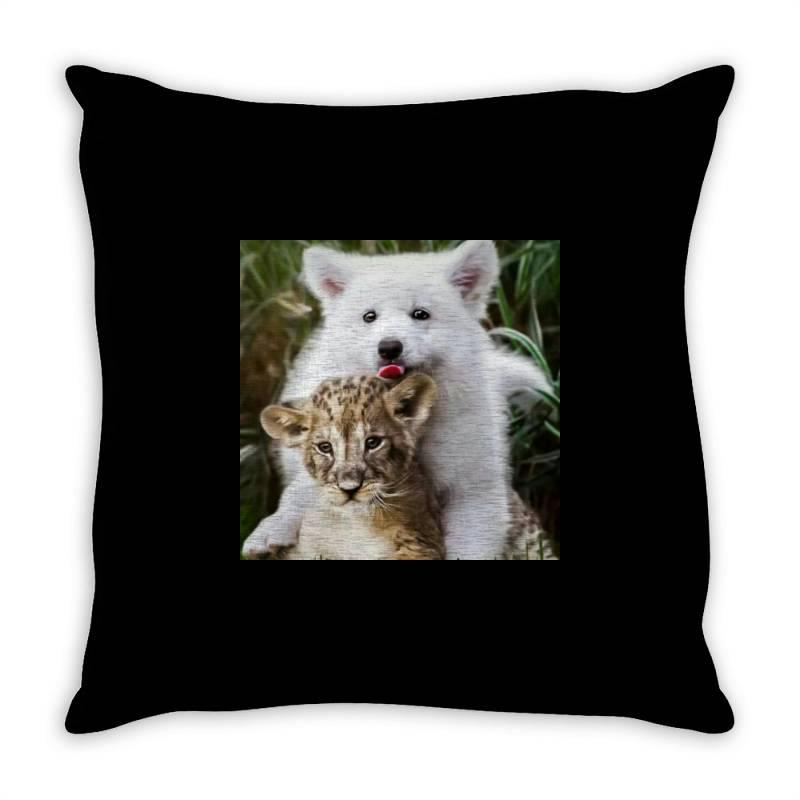 Dog And Lion Throw Pillow | Artistshot