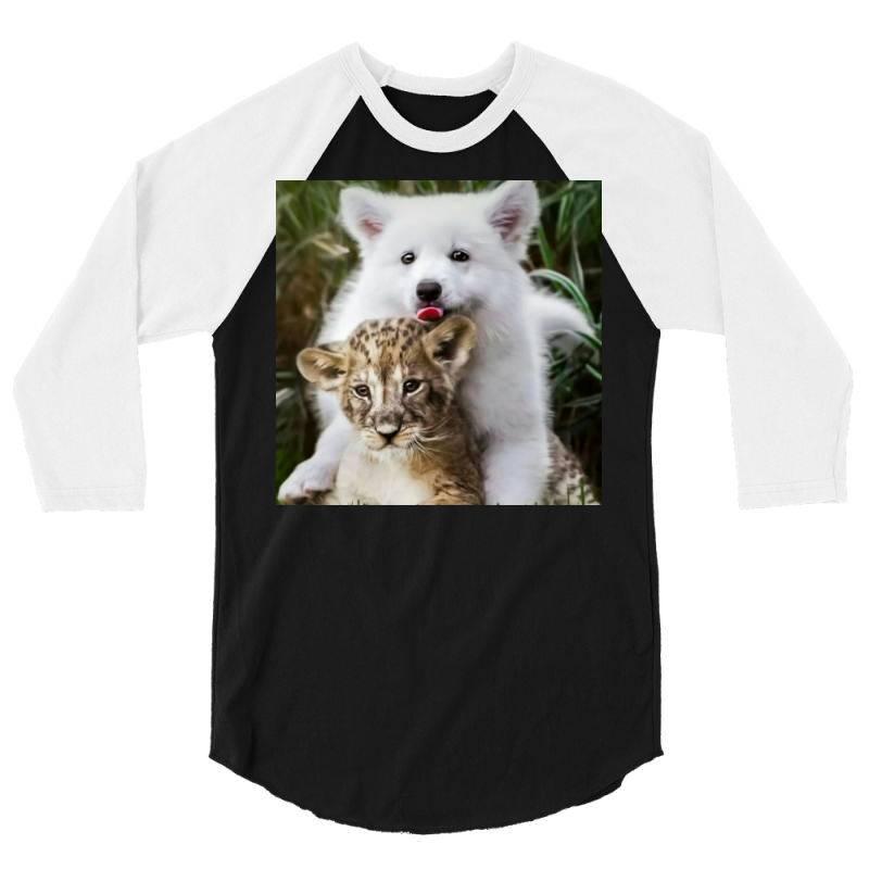 Dog And Lion 3/4 Sleeve Shirt | Artistshot