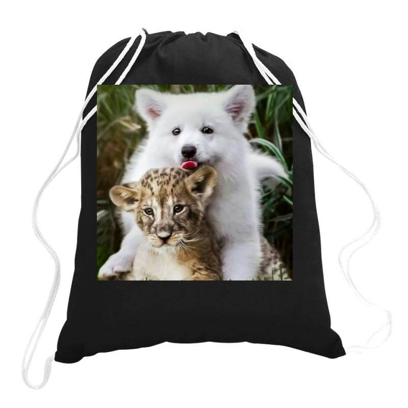 Dog And Lion Drawstring Bags   Artistshot