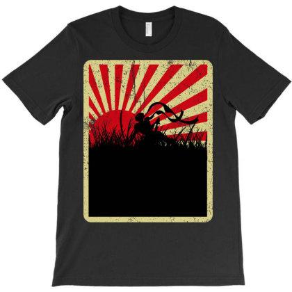 Japanese Samurai Sunrise T-shirt Designed By Badaudesign