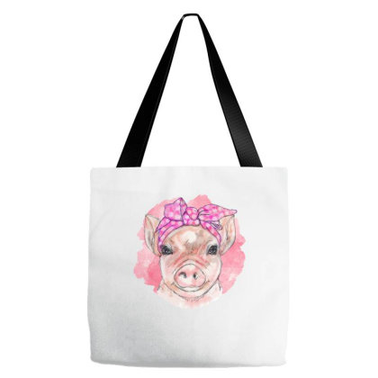 Bandana Pig Girl Tote Bags Designed By Badaudesign