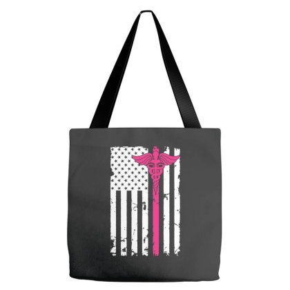 American Flag Nurse For Dark Tote Bags Designed By Gurkan