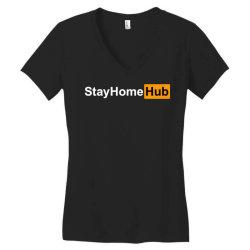 stay home hub Women's V-Neck T-Shirt | Artistshot