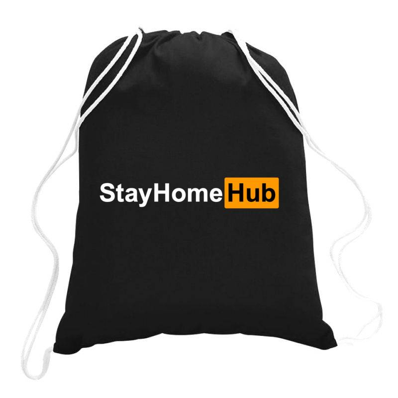 Stay Home Hub Drawstring Bags | Artistshot
