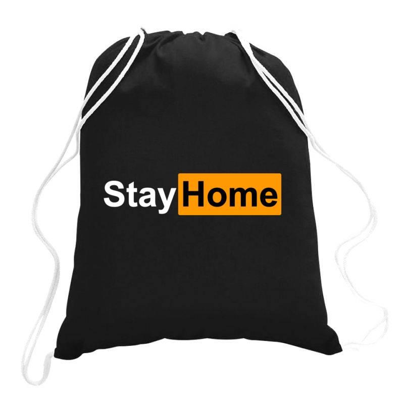 Stay Home Drawstring Bags | Artistshot