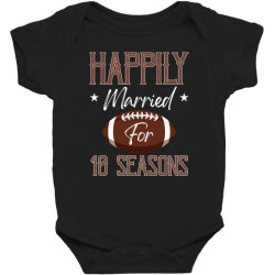 happily married for 10 seasons for dark Baby Bodysuit | Artistshot