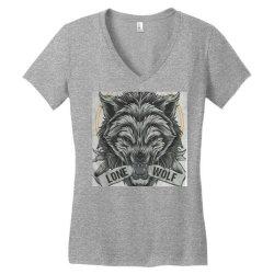 Lone wolf Women's V-Neck T-Shirt   Artistshot