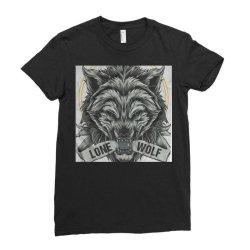 Lone wolf Ladies Fitted T-Shirt   Artistshot