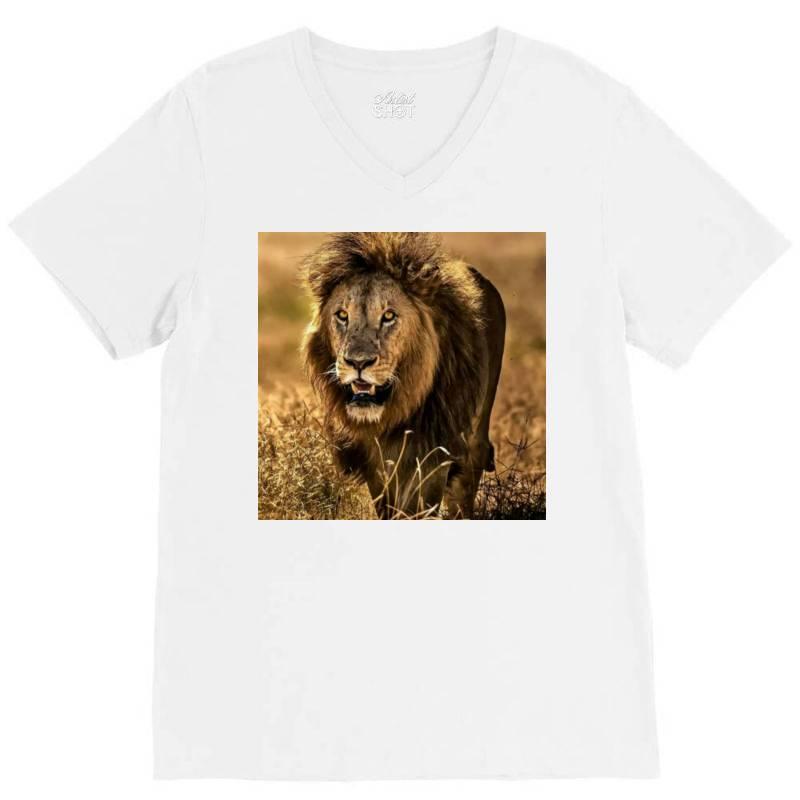 Lion V-neck Tee   Artistshot