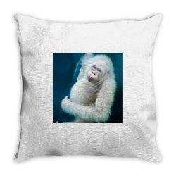 Albino orangutan Throw Pillow | Artistshot