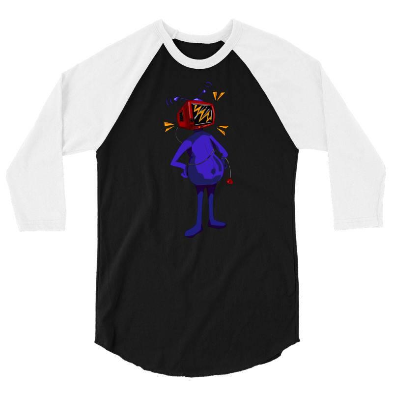 Retro Tv Man 3/4 Sleeve Shirt   Artistshot