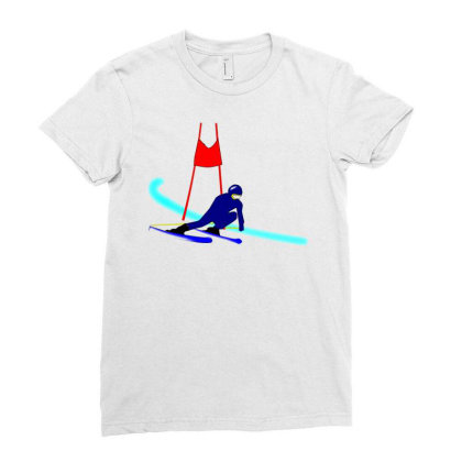 Competition Ski Slalom Sport Ladies Fitted T-shirt Designed By Salmanaz