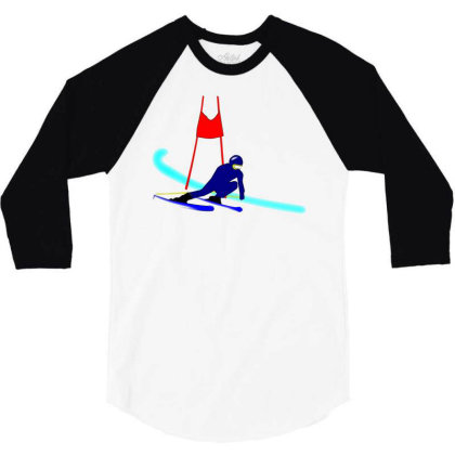 Competition Ski Slalom Sport 3/4 Sleeve Shirt Designed By Salmanaz