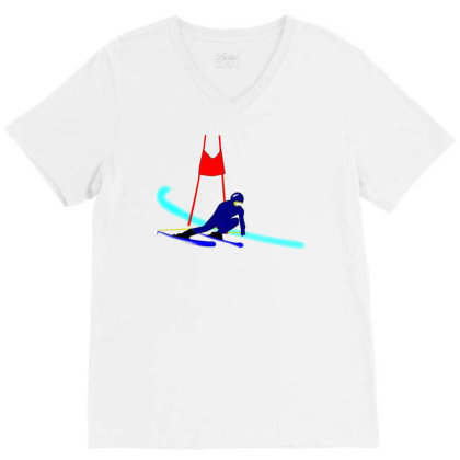 Competition Ski Slalom Sport V-neck Tee Designed By Salmanaz