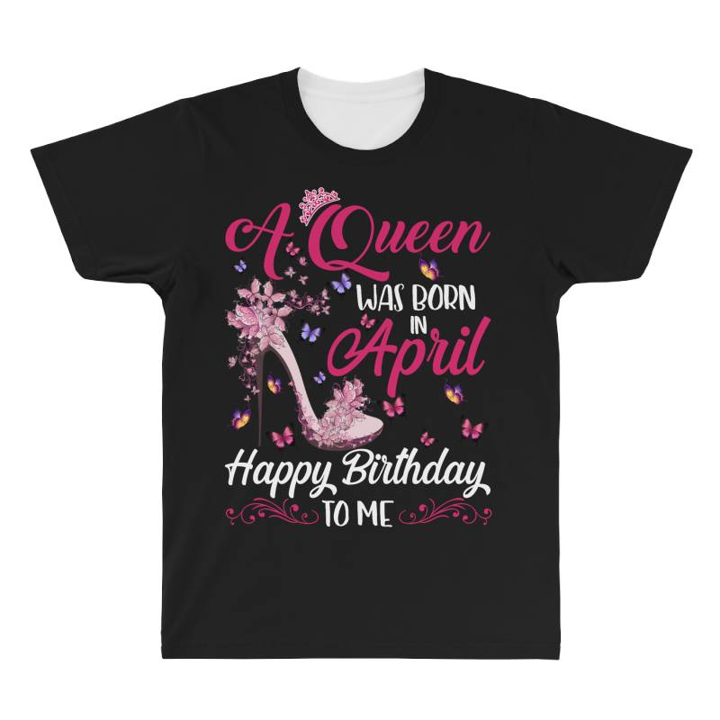 A Queen Was Born In February Happy Birthday To Me All Over Men's T-shirt   Artistshot