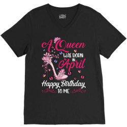 a queen was born in february happy birthday to me V-Neck Tee | Artistshot