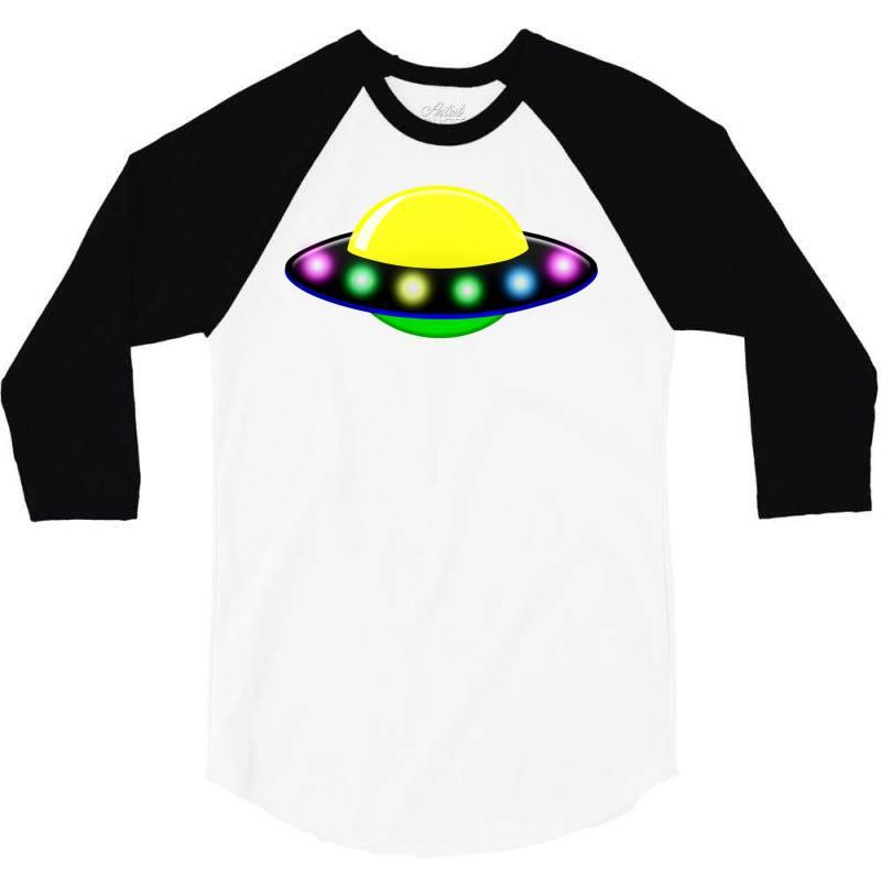 Rocket Astronaut Ufo Planets Space 3/4 Sleeve Shirt   Artistshot