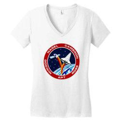 space shuttle background Women's V-Neck T-Shirt | Artistshot