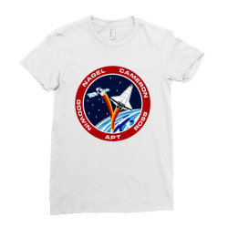 space shuttle background Ladies Fitted T-Shirt | Artistshot