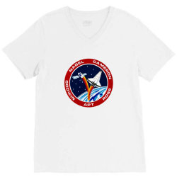 space shuttle background V-Neck Tee | Artistshot