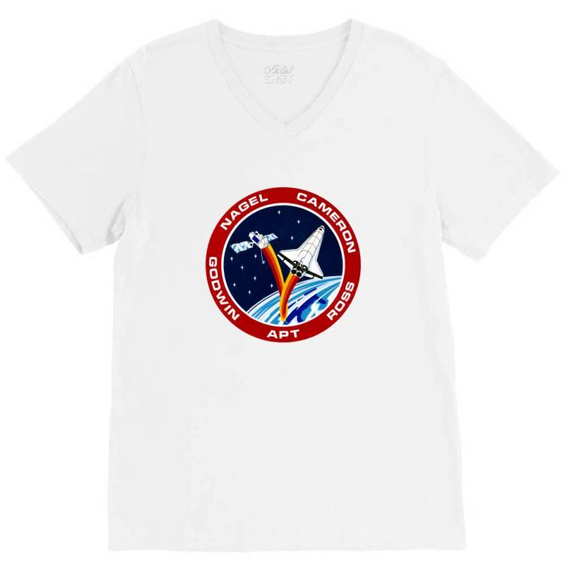 Space Shuttle Background V-neck Tee   Artistshot