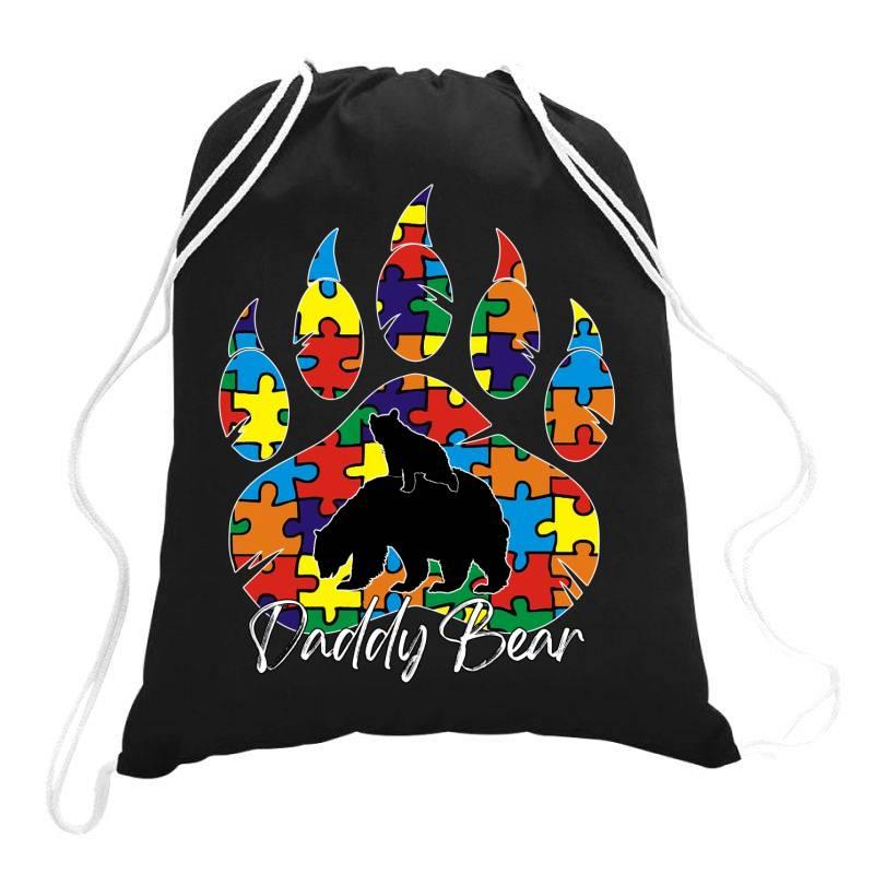 Daddy Bear Autism Awareness Day Drawstring Bags   Artistshot