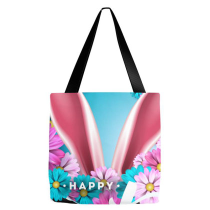 Happy Easter Flower Tote Bags Designed By Gurkan