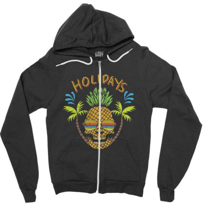 Holidays, Skull Zipper Hoodie Designed By Estore
