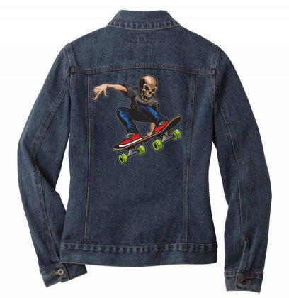 Skateboarder Skull Ladies Denim Jacket Designed By Estore