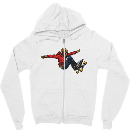 Skateboarder Skull Zipper Hoodie Designed By Estore
