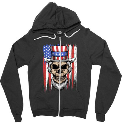 Skull America Zipper Hoodie Designed By Estore