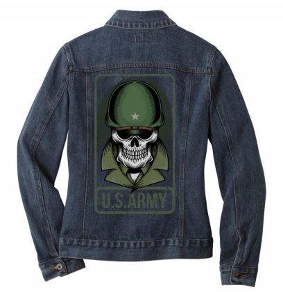 Skull Us Army Ladies Denim Jacket Designed By Estore