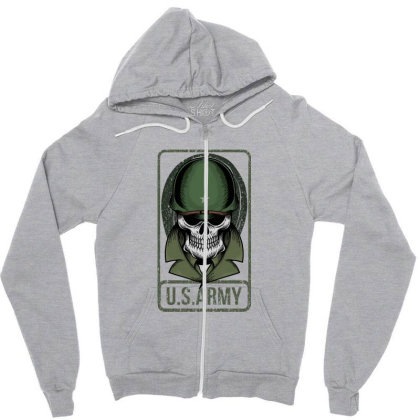 Skull Us Army Zipper Hoodie Designed By Estore
